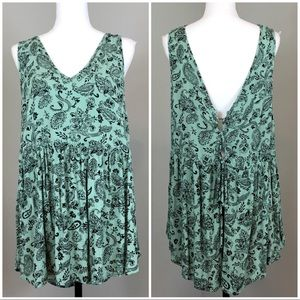 Torrid Paisley Lace Up Spilt Back Tank Top